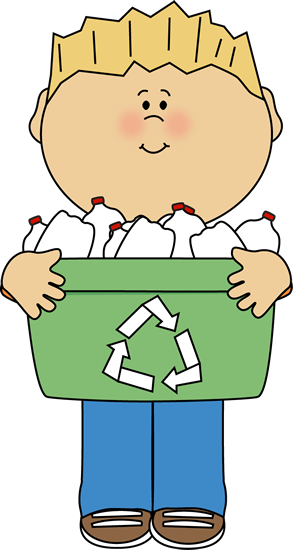 Boy Carrying a Recyle Bin