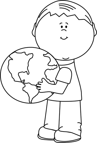 Black and White Boy Hugging Earth