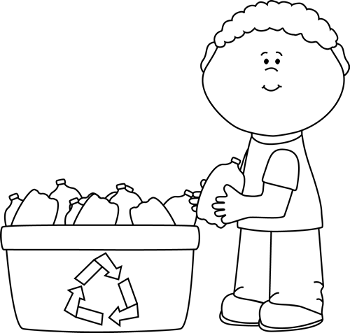 Black and White Boy Recycling Plastic Bottles Clip Art ...