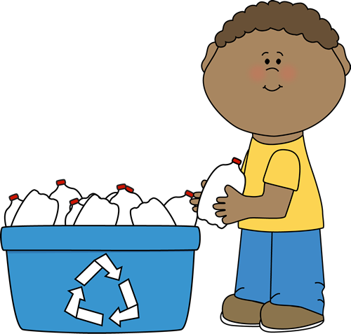 Boy Recycling Plastic Bottles