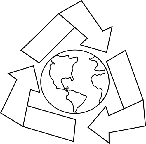 Black and White Earth with Recycle Symbol