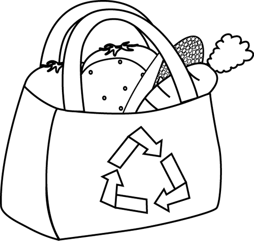 Black and White Eco Friendly Grocery Bag Clip Art - Black and ...
