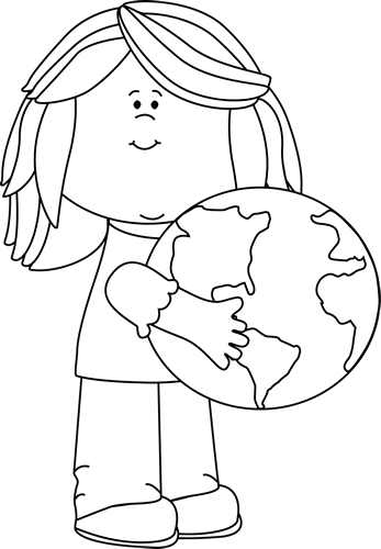 Black and White Girl Hugging Earth