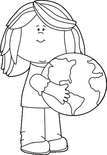 Black and White Girl Hugging Earth