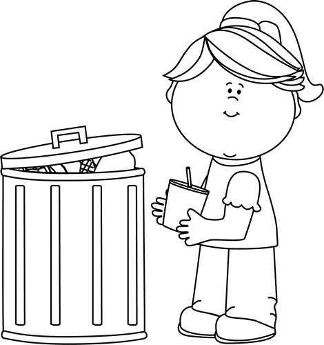 Black and White Girl Picking Up Trash