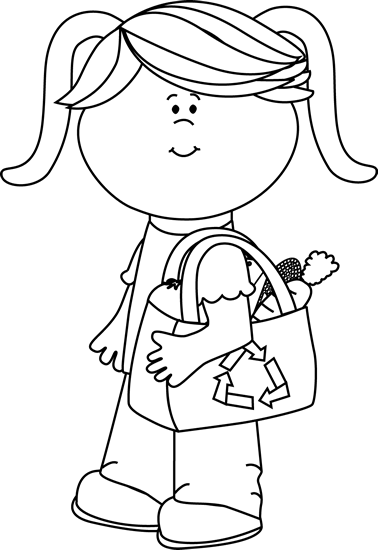 Black and White Girl with Eco Friendly Shopping Bag