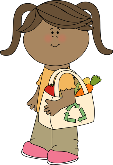 Girl with Eco Friendly Shopping Bag Clip Art