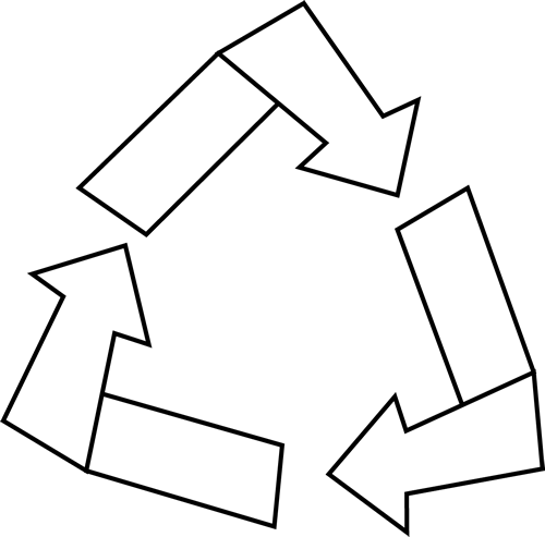 Black and White Recycle Symbol