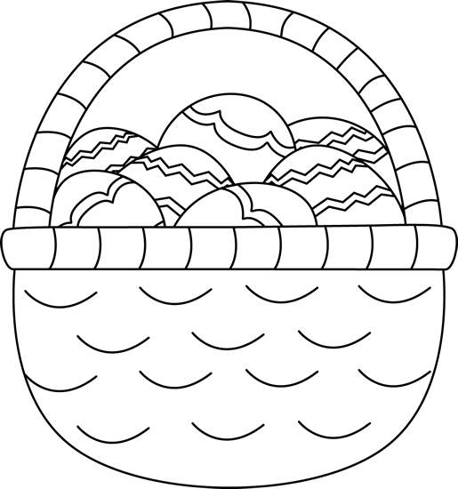 Easter Basket Clipart Black And White : Black and white basket of easter eggs clip art