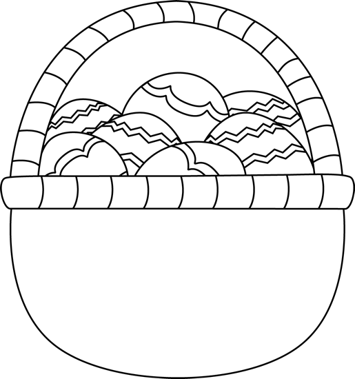 Blank Black And White Basket Of Easter Eggs