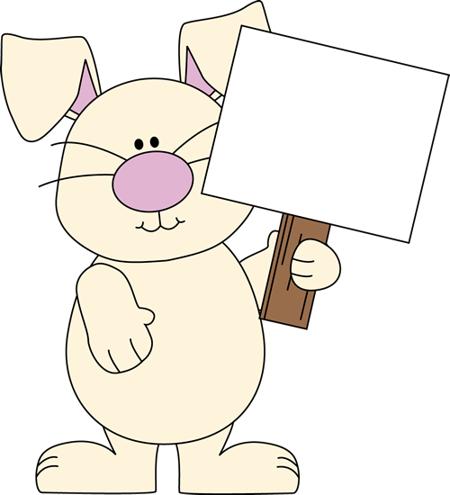 Easter Bunny with a Blank Sign Clip Art