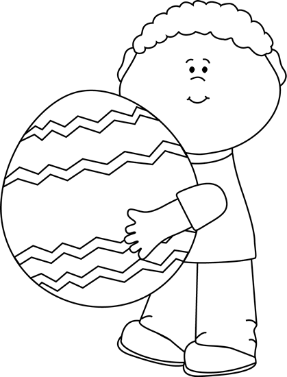 Black and White Boy Holding a Giant Easter Egg