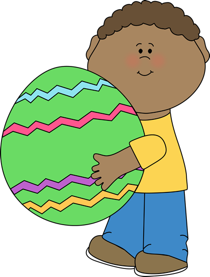 Boy Holding a Giant Easter Egg Clip Art