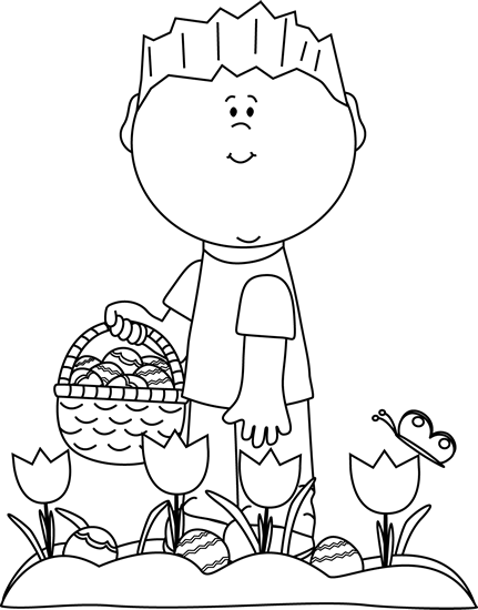 Black and White Boy Looking For Easter Eggs Clip Art ...