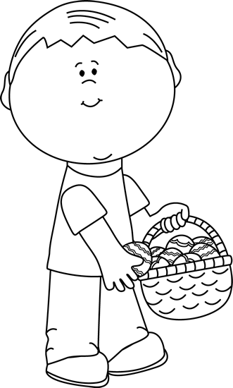 Black and White Boy Putting Eggs in an Easter Basket