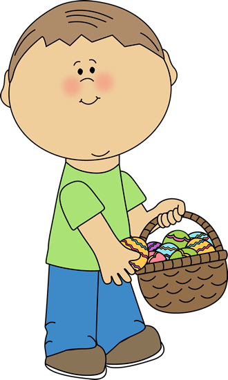 Boy Putting Eggs in an Easter Basket
