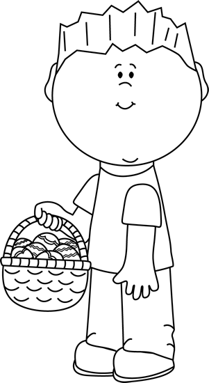 Black and White Boy with an Easter Basket