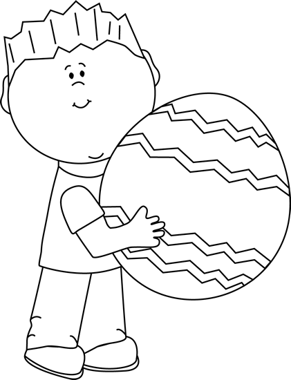 Black and White Boy with a Big Easter Egg Clip Art - Black and White ...