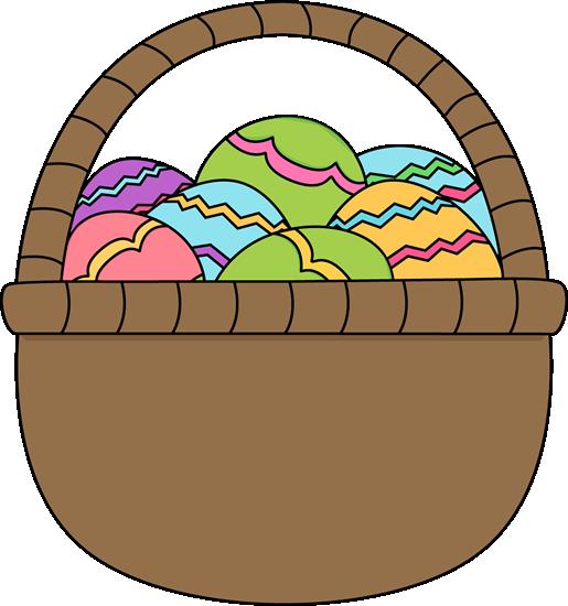 Brown Basket of Easter Eggs