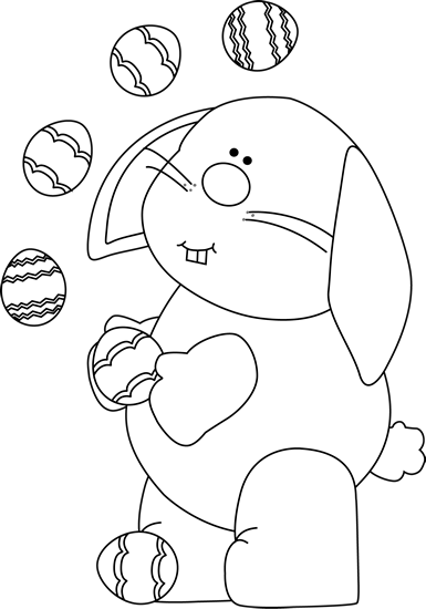 Black and White Bunny Juggling Easter Eggs