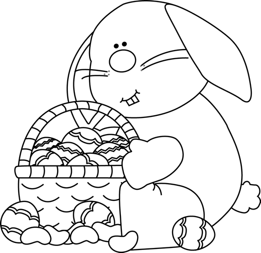 Easter Basket Clipart Black And White : Black and white bunny sitting with an easter basket clip