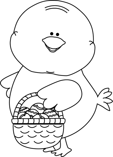 Black and White Chick Carrying Easter Basket