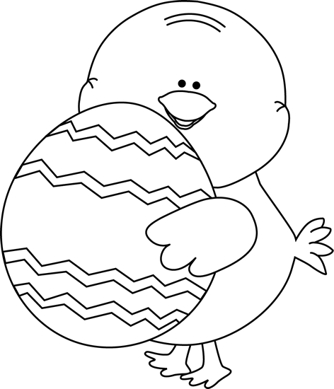Black and White Chick Carrying Easter Egg Clip Art - Black and White ...