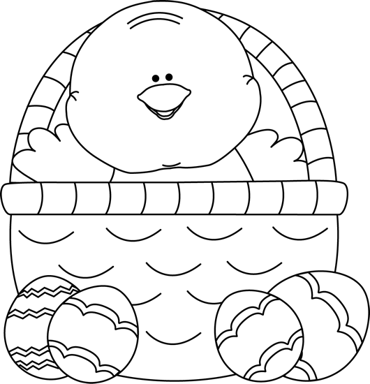 Easter Basket Clipart Black And White : Easter basket clipart black and white