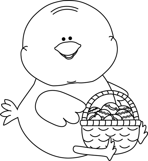 Black and White Chick with an Easter Basket