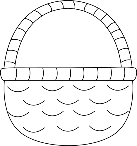 Easter Basket Clip Art Image - black and white outline of an emptyEmpty Easter Basket Clipart