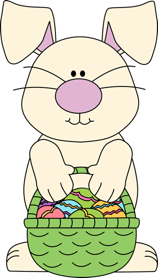 White Bunny with an Easter Basket Clip Art