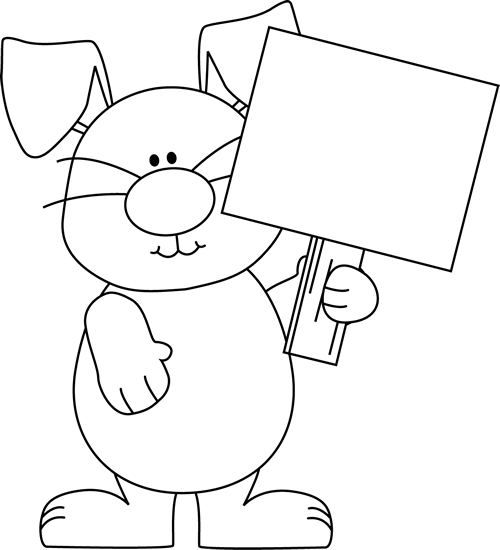 Black And White Easter Bunny With A Blank Sign