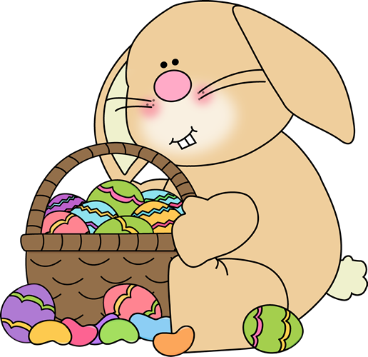 Bunny Sitting with an Easter Basket Clip Art