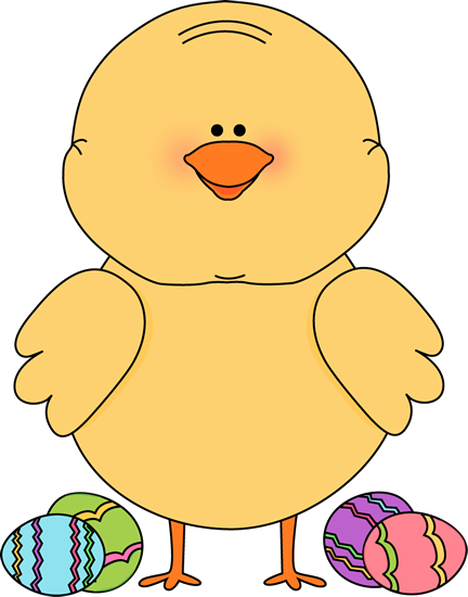 Easter Chick and Easter Eggs Clip Art - Easter Chick and ...