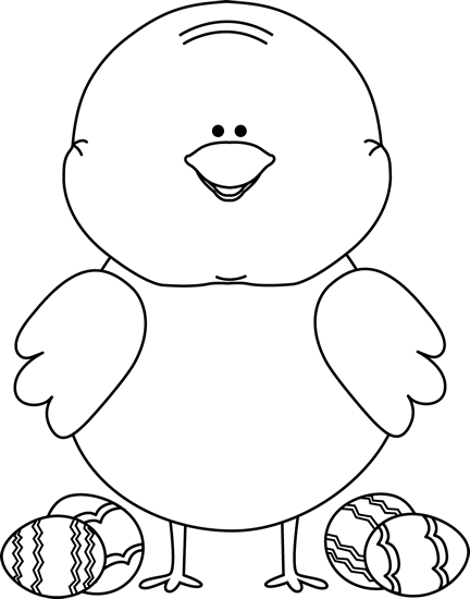 White Easter Chick with Easter Eggs Clip Art - Black and White Easter ...