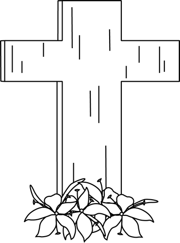 Black and White Easter Cross and Lilies