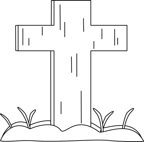 Black and White Easter Cross in the Grass