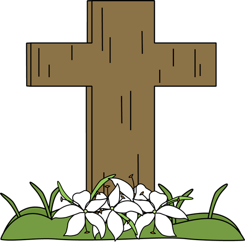 Easter Cross and Lilies in the Grass