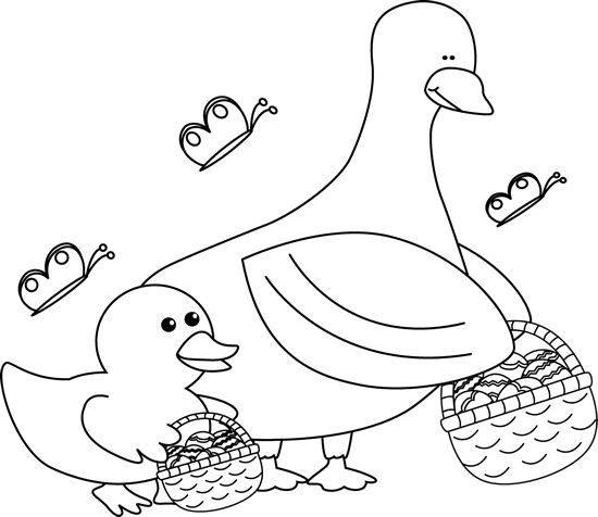 Black and White Easter Ducks with Easter Baskets