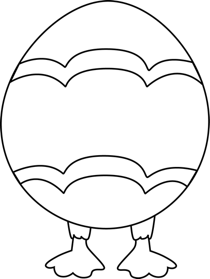 Black and White Easter Egg with Feet