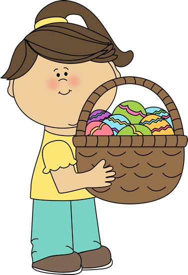 Girl Holding a Big Easter Basket
