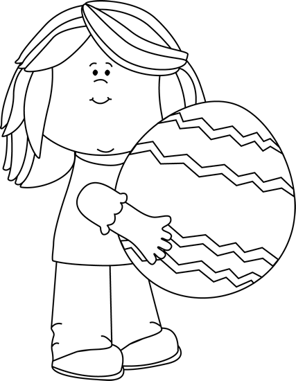 Black and White Girl Holding a Big Easter Egg