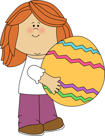 Girl Holding a Big Easter Egg