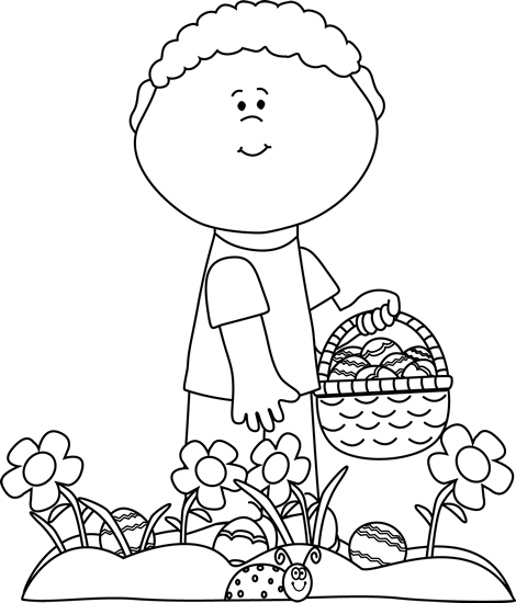 Black and White Little Boy on an Easter Egg Hunt