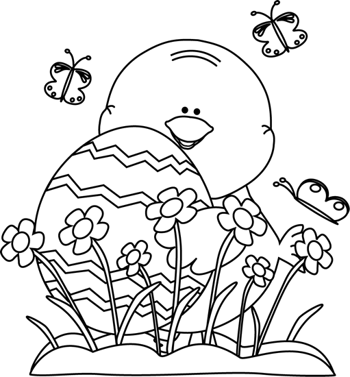 Black and White Spring Easter Chick Clip Art - Black and White Spring ...