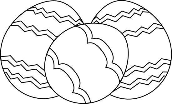 Black and White Easter Eggs Clip Art - Three Black and White Easter ...