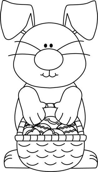 Black And White Bunny With An Easter Basket Clip Art