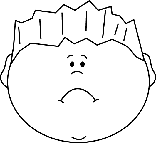 Black and White Sad Face Boy Clip Art - Black and White ...
