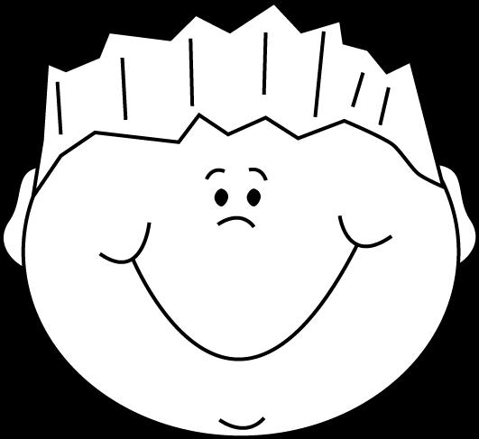Black and White Cartoon Happy Boy