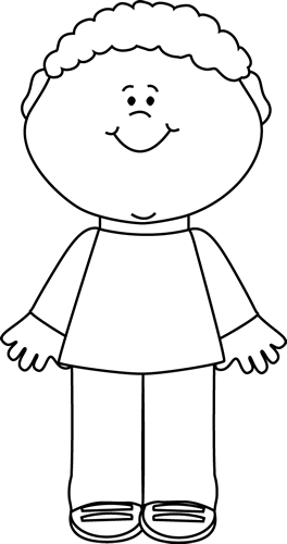 black and white happy little boy clip art